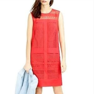#574 J. Crew Coral Red Shift Dress 6 Small Crochet